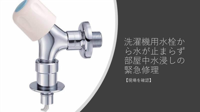 洗濯機用水栓から水が止まらず部屋中水浸しの緊急修理【現場を確認】