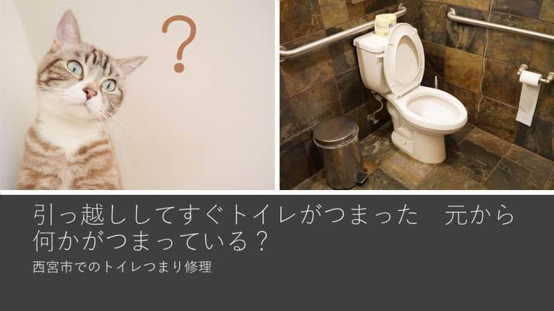 引っ越ししてすぐトイレがつまった 元から何かがつまっている? 西宮市でのトイレつまり修理