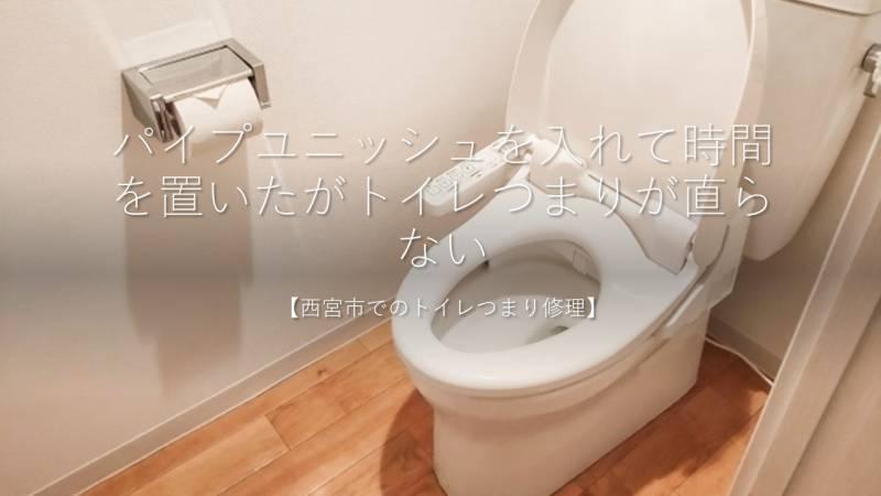 パイプユニッシュを入れて時間を置いたがトイレつまりが直らない【西宮市でのトイレつまり修理】