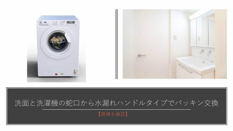洗面と洗濯機の蛇口から水漏れ ハンドルタイプでパッキン交換【現場を確認】