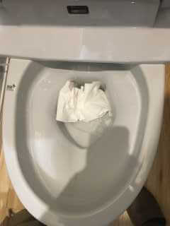 トイレットペーパーを流して確認
