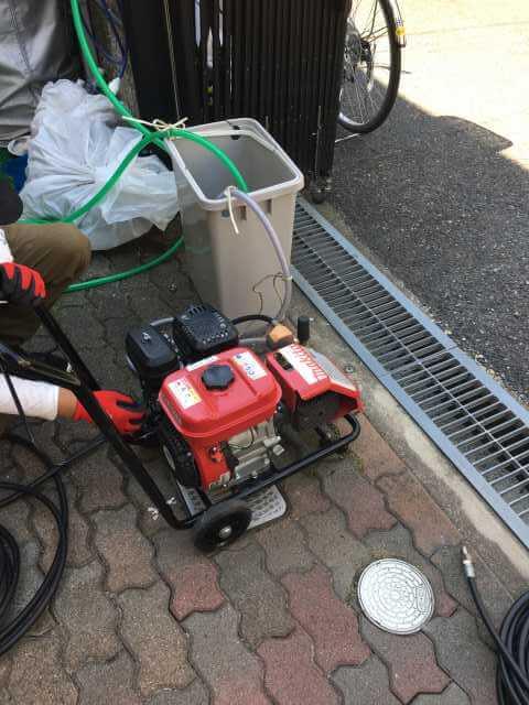 高圧洗浄作業の準備