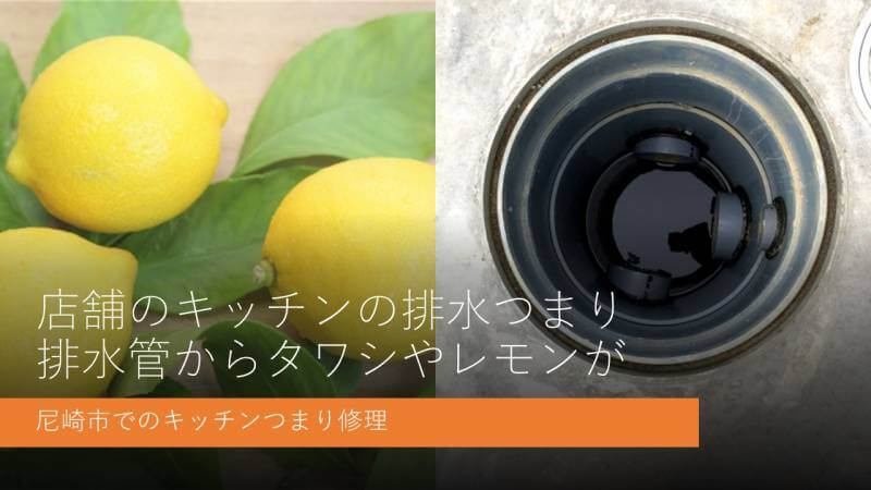 店舗のキッチンの排水つまり 排水管からタワシやレモンが 尼崎市でのキッチンつまり修理
