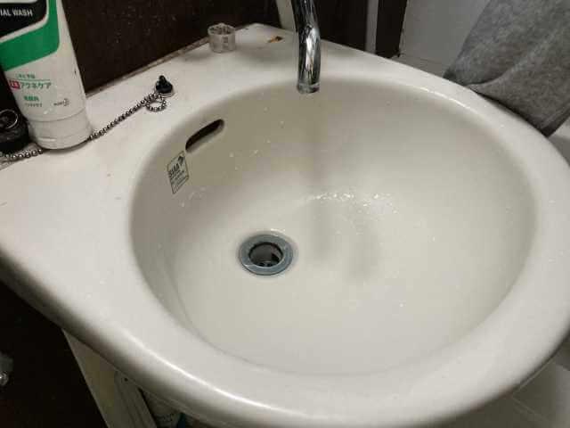 洗面の水が流れた