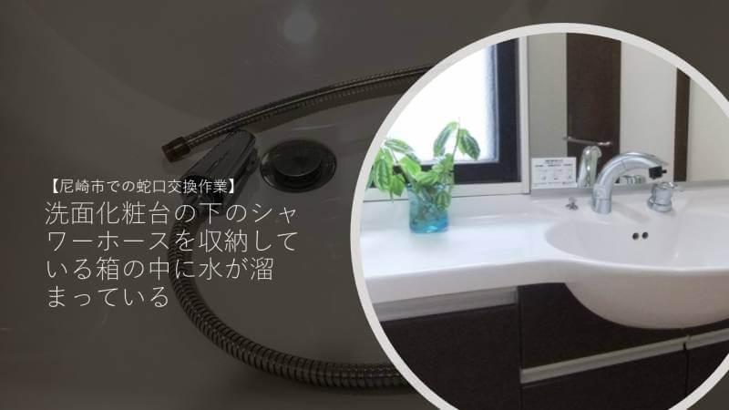 洗面化粧台の下のシャワーホースを収納している箱の中に水が溜まっている?【尼崎市での蛇口交換作業】