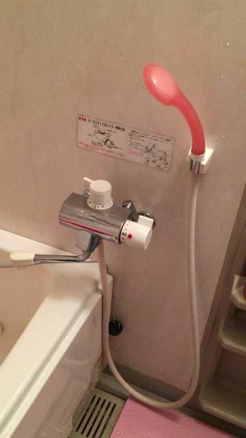 KVK製お風呂の壁付けサーモスタット混合水栓
