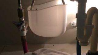 洗面台下の銀色のホースから水漏れ 早期発見で大惨事を回避|尼崎市元浜町