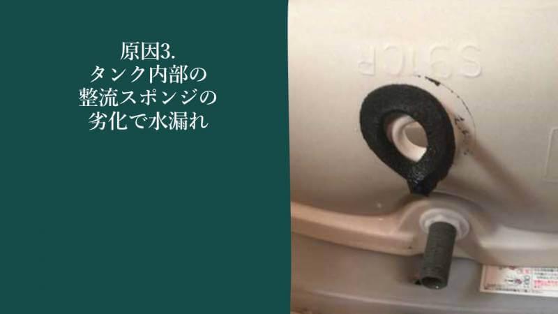原因3.タンク内部の整流スポンジの劣化で水漏れ