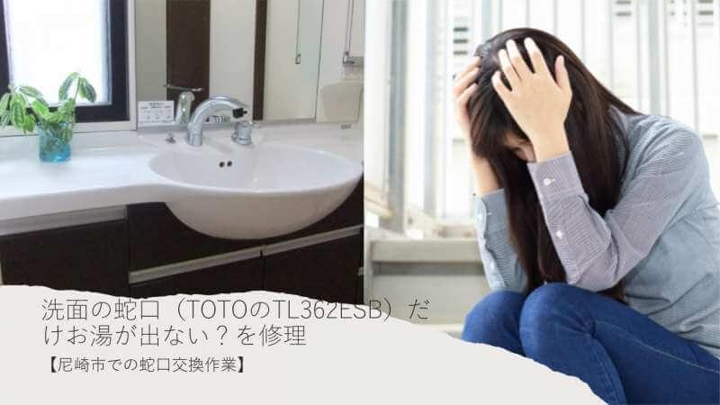 洗面の蛇口(TOTOのTL362ESB)だけお湯が出ない?配管に何かが詰まっている?【尼崎市での蛇口交換作業】