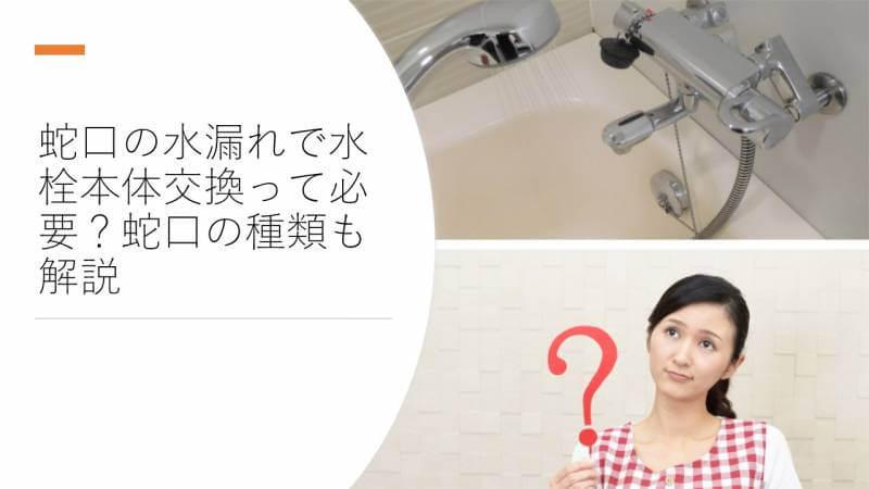 蛇口の水漏れで水栓本体交換って必要?蛇口の種類も解説