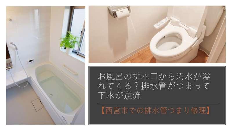 お風呂の排水口から汚水が溢れてくる?排水管がつまって下水が逆流【西宮市での排水管つまり修理】
